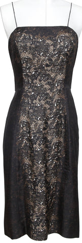 PRADA Dress Spaghetti Strap Silk Brown Black Lace Print Sz 40 - Evesherfashion