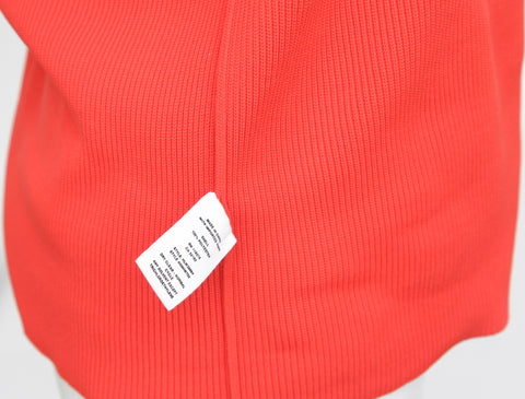 HELMUT LANG Orange Sweater Knit Top Henley Short Sleeve Silver Zipper Sz L - Evesherfashion