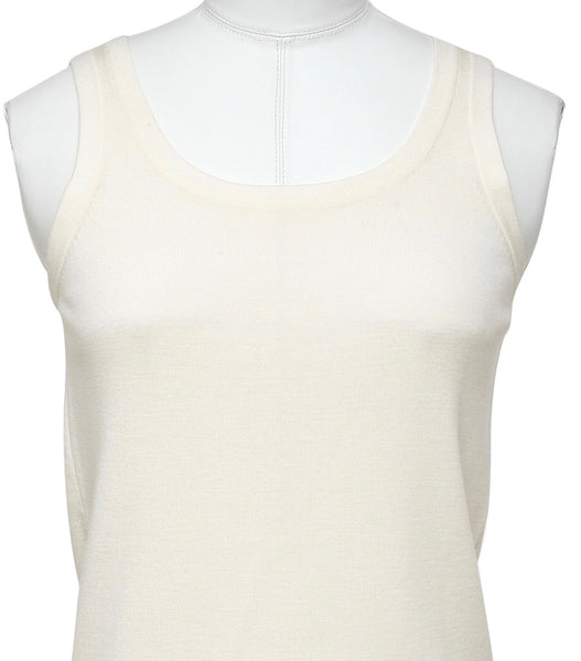 AKRIS PUNTO Sweater Knit Top Sleeveless Shell Wool Cream Sz 8 40 BNWT - Evesherfashion