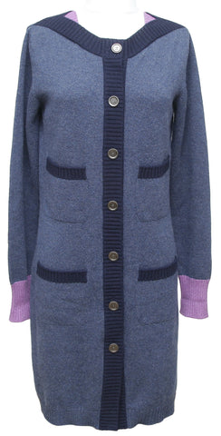 Chanel Cardigan Sweater Blue Cashmere Purple Gunmetal CC Buttons Long 38 2012