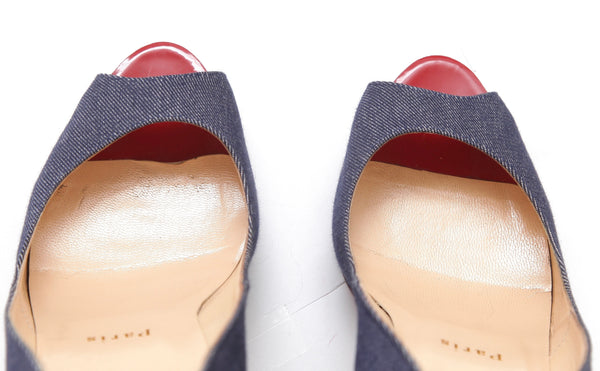 CHRISTIAN LOUBOUTIN Platform Pump VERY PRIVE Blue Denim Red Patent Leather 38 - Evesherfashion