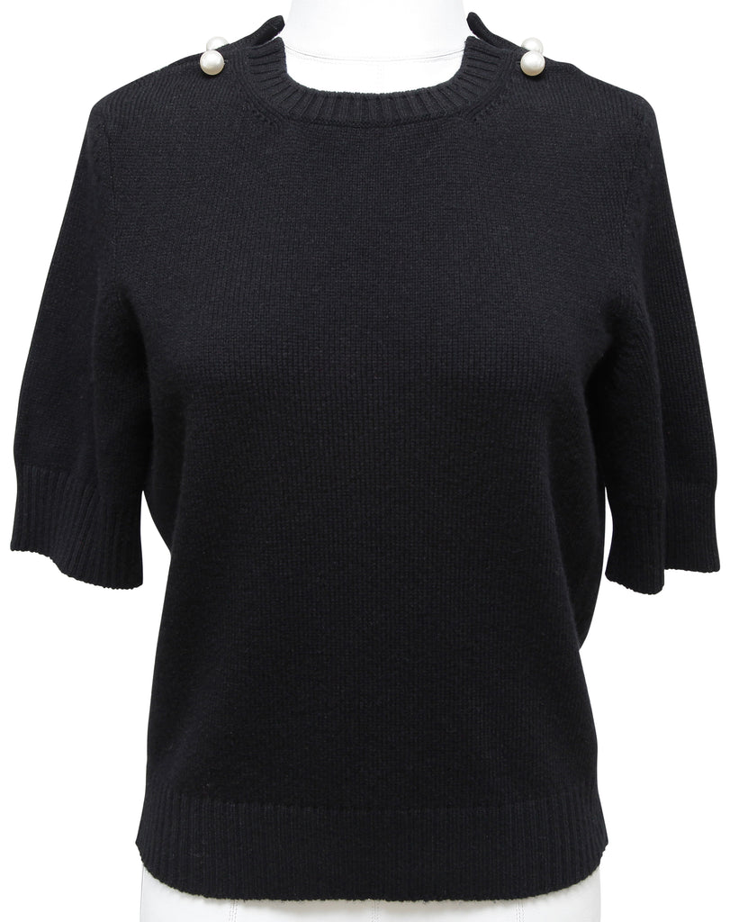 CHANEL Sweater Knit Cashmere Black PEARL Short Sleeve Top Sz 38 17B 2017 BNWT - Evesherfashion