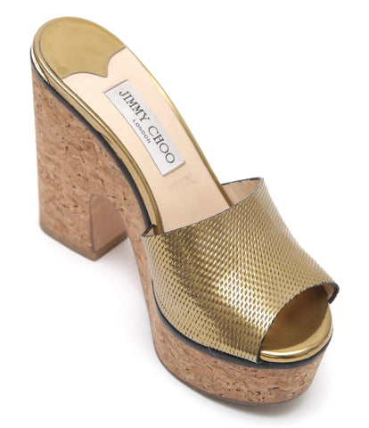 JIMMY CHOO Slide Sandal Platform DEEDEE Metallic Gold Heel 38.5 - Evesherfashion