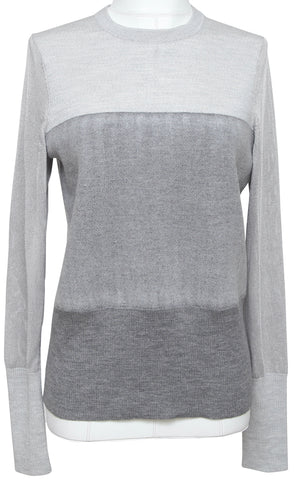 RAG & BONE Grey Sweater Knit Top Shirt Long Sleeve Crew Neck Wool Viscose M/M - Evesherfashion