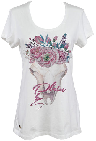 PHILIPP PLEIN COUTURE Top T-Shirt DUNVEGAN White Short Sleeve Crystal Sz S NWT - Evesherfashion