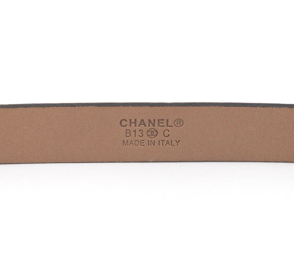 CHANEL Black Leather Belt Waist Skinny Silver-Tone CC Classic Sz 80 2013 13B - Evesherfashion