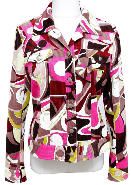 EMILIO PUCCI Jacket Coat Corduroy Jean Button Down Multi-Color US 10 F 40 - Evesherfashion