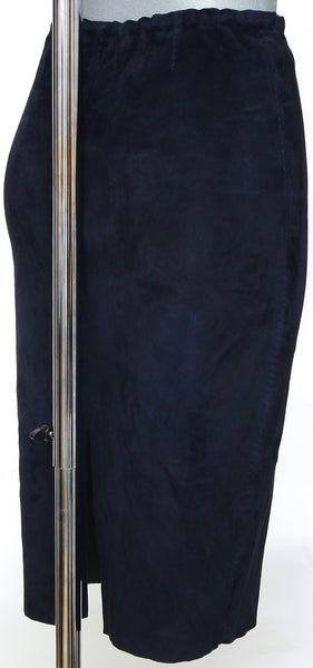 STOULS Suede Pencil Skirt Straight Navy Blue Slip On Elasticized Waist Sz XS - Evesherfashion