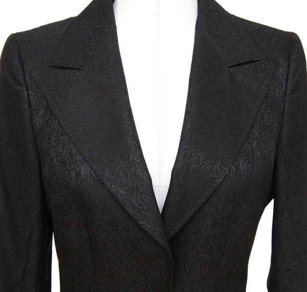 DOLCE & GABBANA Blazer Jacket Black Print Long Sleeve Sz 40 - Evesherfashion
