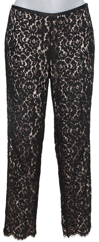 MICHAEL KORS COLLECTION Black Lace Pant Floral Straight Leg Zipper Sz 4 - Evesherfashion