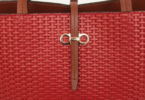 SALVATORE FERRAGAMO Red Leather Woven Tote Bag Brown Shoulder Straps - Evesherfashion