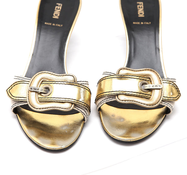 FENDI Slide Sandal Cream Canvas Gold Leather Buckle Peep Toe Heel Sz 39.5 - Evesherfashion