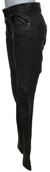 GIVENCHY Black Leather Pant Jean Mid-Rise Skinny Leg Zipper Sz M - Evesherfashion