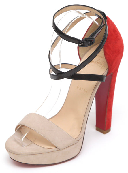 CHRISTIAN LOUBOUTIN Platform Suede SUMMERISSIMA 140 Leather Ankle Strap Sz 38 - Evesherfashion