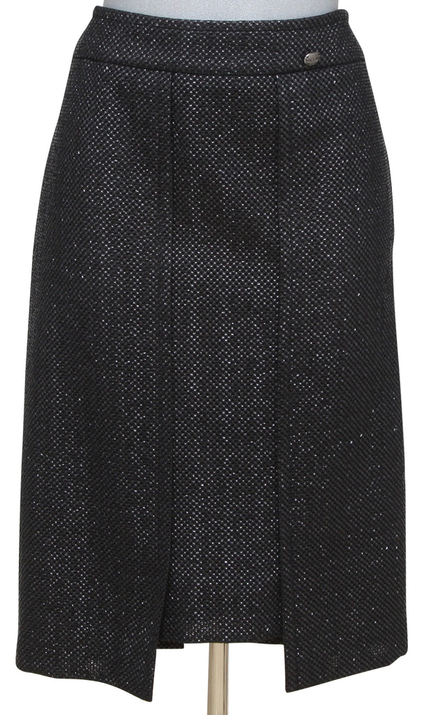CHANEL Black Skirt Tweed RUNWAY Iridescent Classic Cruise 2011 Sz 44 - Evesherfashion