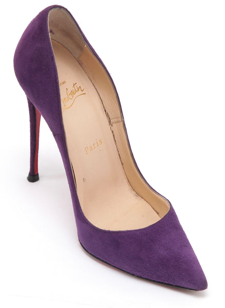 CHRISTIAN LOUBOUTIN Suede Leather Pump SO KATE 120 Purple Pointed Toe 38 - Evesherfashion