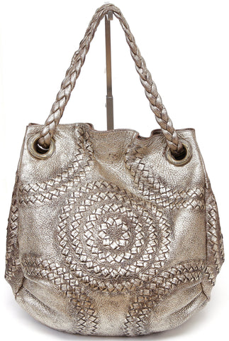 BOTTEGA VENETA Tote Shoulder Bag INTRECCIATO Metallic Gold Distressed Hobo - Evesherfashion