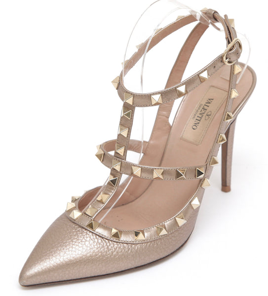 VALENTINO Gold Leather Pump ROCKSTUD Ankle Strap T-Strap Pointed Toe 38.5 - Evesherfashion