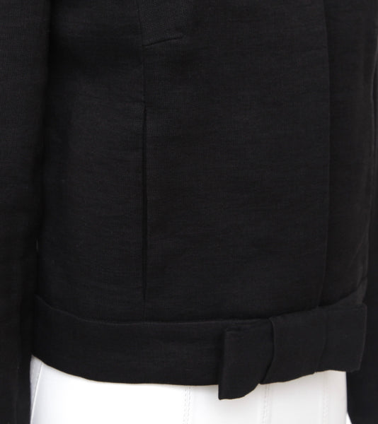 CHLOE Jacket Coat Blazer Black Long Sleeve Linen Blend Bow SZ 36 Autumn 2006 - Evesherfashion