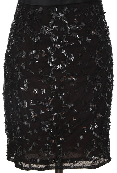 GUCCI Black Dress Cap Sleeve Sequin Paillette Netting Maroon Lining Sz 38 RUNWAY - Evesherfashion