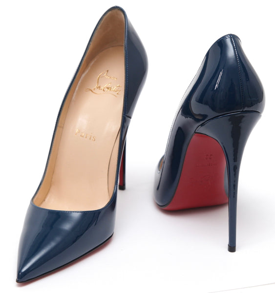 CHRISTIAN LOUBOUTIN Patent Leather Pump SO KATE 120 Blue Pointed Toe 38 NEW - Evesherfashion