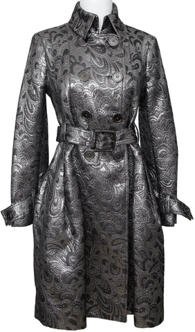 BURBERRY Metallic Silver Coat Trench Brocade Double Breasted Belt Brit Sz 4 - Evesherfashion