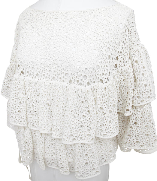 CHANEL Top Blouse Ruffled Tiered Ivory Eyelet Bateau Tie Sz 40 Spring 2012 12C - Evesherfashion