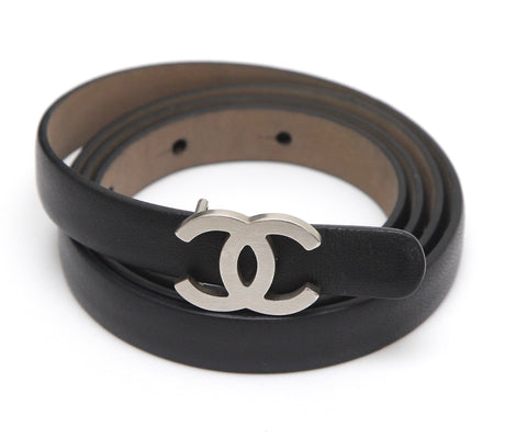 CHANEL Black Leather Belt Waist Skinny Matte Silver CC Classic Sz 85 2013 13B - Evesherfashion