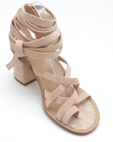 CHANEL Suede Sandal Wrap Leather Light Pink Gold HW Sz 38 NIB $1200 - Evesherfashion