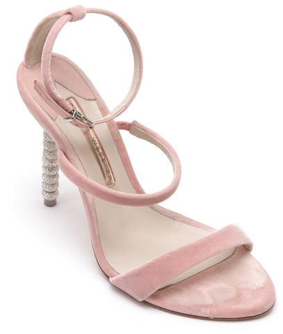 SOPHIA WEBSTER Sandal Pink Velvet Crystal ROSALIND Leather 3 Strap Heel 38.5 - Evesherfashion