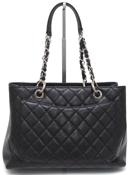 CHANEL Black Caviar Leather Grand Shopping Tote Bag Silver HW - Evesherfashion