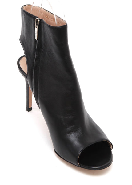 GIANVITO ROSSI Black Ankle Boot Leather Peep Toe Silver Zipper Heel Sz 39 NEW - Evesherfashion