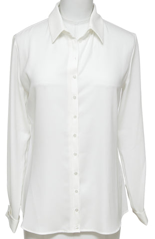 ANNE FONTAINE Blouse Shirt SAGANE Button Down Ivory Polyester Sz 36 - Evesherfashion