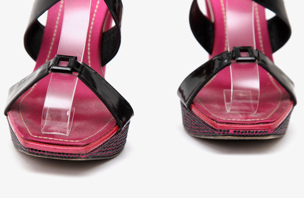 RENE CAOVILLA Platform Sandal Black Patent Leather Crystals Magenta Satin 38.5 - Evesherfashion
