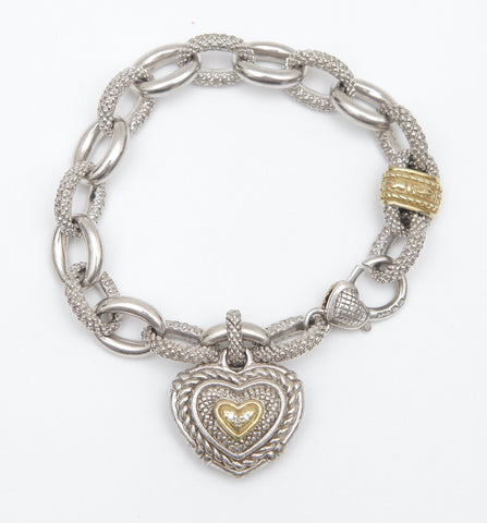 JUDITH RIPKA Chain Bracelet Diamond Heart Sterling Silver 18K Diamonds - Evesherfashion