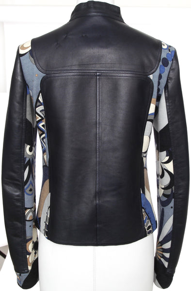 EMILIO PUCCI Wool Leather Jacket Blue Navy Print Multi-Color Long Sleeve Sz F 38 - Evesherfashion