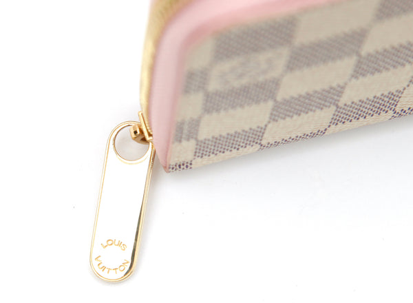 LOUIS VUITTON Damier Azur Coated Canvas ZIPPY Zip Around Pink Leather NEW - Evesherfashion