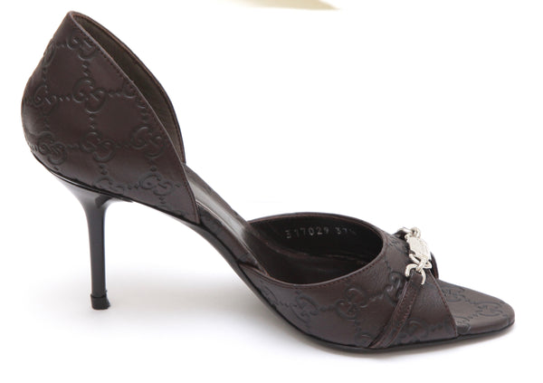 GUCCI Leather Pump D'Orsay Brown GG Logo Silver-Tone Plaque Peep Toe sz 37.5 - Evesherfashion