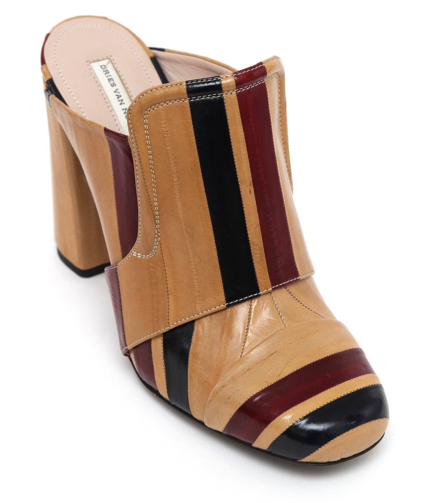 DRIES VAN NOTEN Mule Slide Sandal Heel Striped Eel Leather Tan Black Red 40 NEW - Evesherfashion