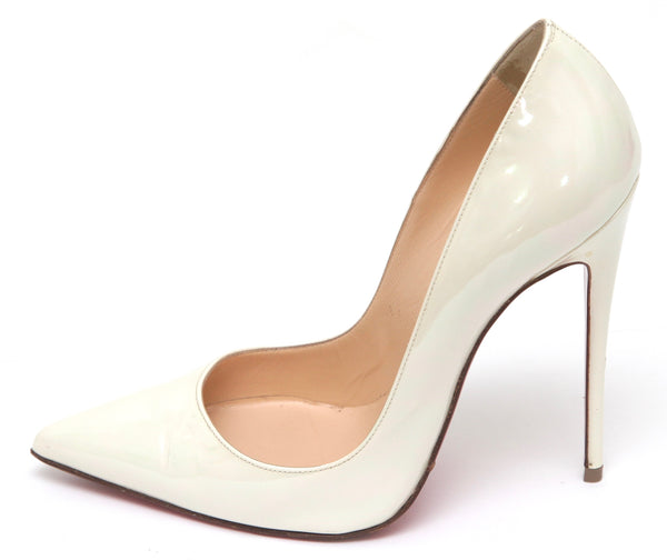 CHRISTIAN LOUBOUTIN Off White Iridescent Patent Leather Pump SO KATE 120 Sz 38 - Evesherfashion
