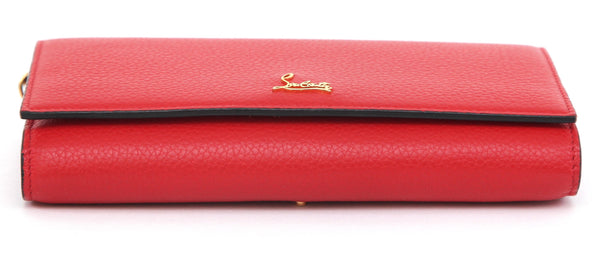 CHRISTIAN LOUBOUTIN Wallet On Chain BOUDOIR Bag Red Leather Clutch Gold HW - Evesherfashion