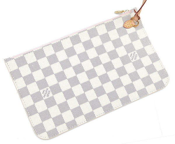 LOUIS VUITTON Damier Azur Canvas NEVERFULL MM Bag Tote Pouch Leather Rose Gold - Evesherfashion