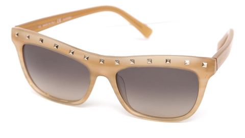 VALENTINO Sunglasses Striped Beige Gold-Tone Studs Rockstud V650S - Evesherfashion