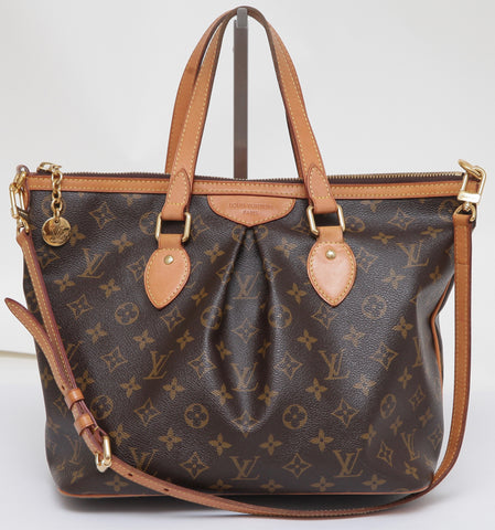 LOUIS VUITTON Monogram Canvas PALERMO PM Shoulder Bag Tote Brown Gold-Tone - Evesherfashion