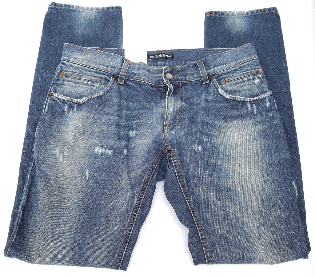 DOLCE & GABBANA Men's Blue Jean Denim Medium Dark Wash Distressed 50 - Evesherfashion