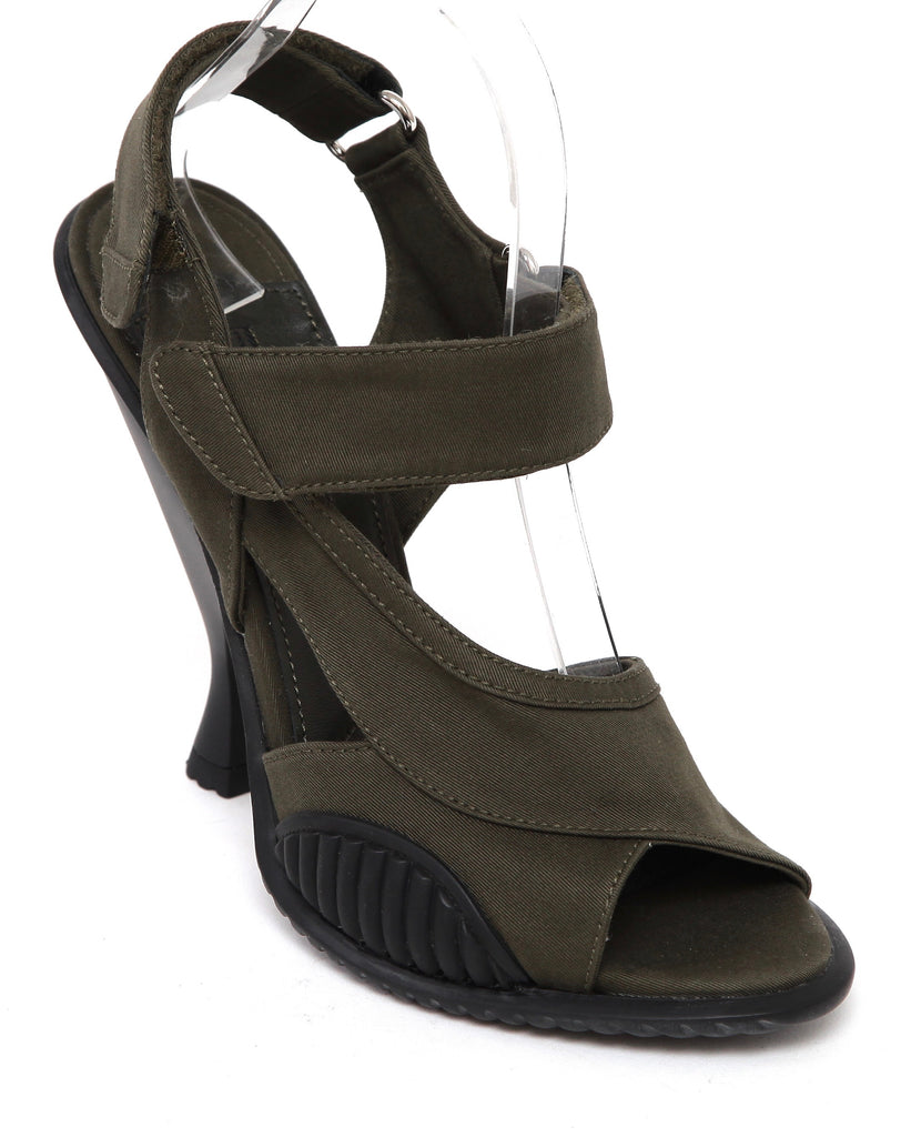 PRADA Sandal Military Green Black Rubber Fabric Leather Heel Open Toe Sz 39.5 - Evesherfashion