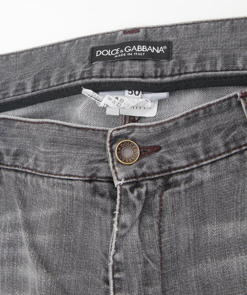 DOLCE & GABBANA Men's Grey Jean Denim Distressed Medium Dark Boot Cut Sz 50 - Evesherfashion