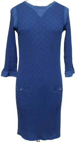 CHANEL Dress Knit Sweater Blue Quilted Cotton Long Sleeve Eyelet Sz 36 2013 - Evesherfashion