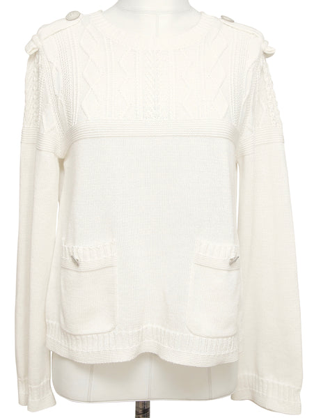 CHANEL Knit Sweater Top Long Sleeve Ivory Epaulets CC Buttons Pockets 40 2016 - Evesherfashion