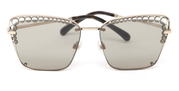 CHANEL Square Sunglasses Light Brown Lens Pearls Gold Frame 4235H c.395/3 2018 - Evesherfashion